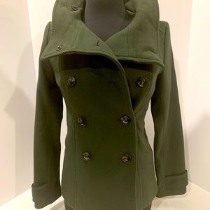 H&M Green Women's Double Breasted Pea Coat Size 2